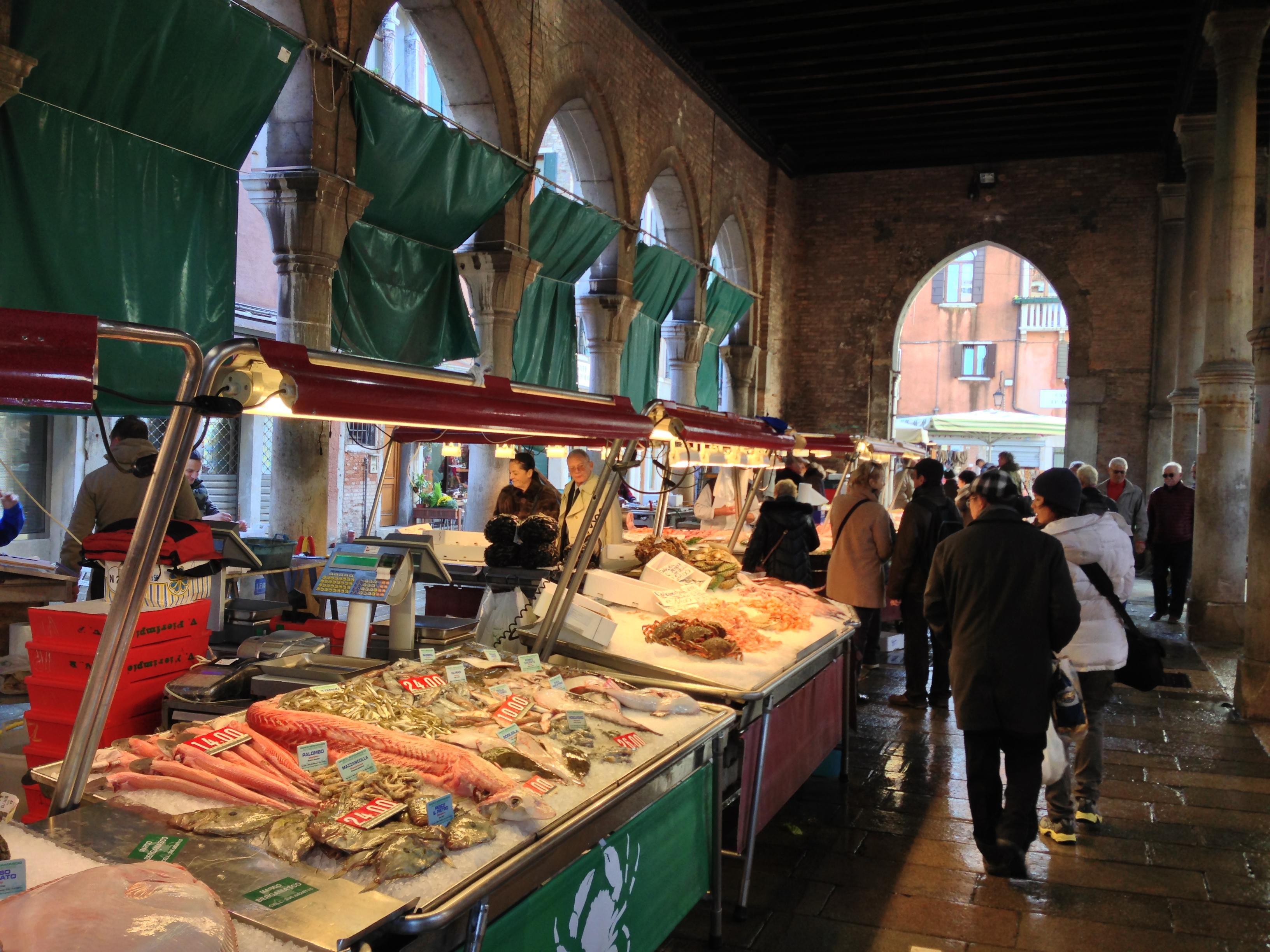 Image result for Rialto fish market, Venice.