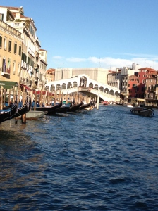 Riding the vaporetto and seeing the Rialto Bridge for the first time!