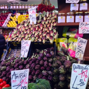 A variety of artichokes.