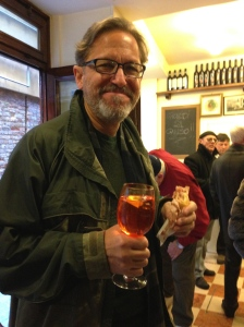 Larry enjoying a cicchetti and spritz at All'Arco