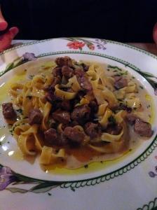 Housemade Tagliatelle with  Filet Mignon and Radicchio in a Light Cream Sauce