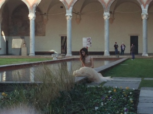 Photographing a model at Sforza Castle.