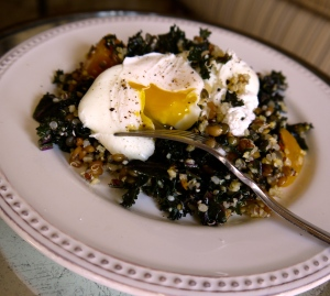 Mixed Grain Bowl with Kale and Squash with egg 3