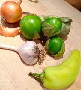 Tomatillo, Hungarian wax pepper, garlic and onion