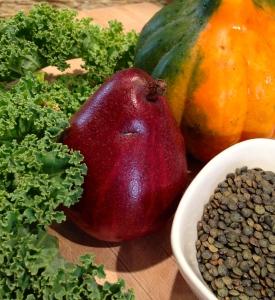 Winterbor Kale, Pear, Acorn Squash and lentils