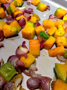Roasted kabocha squash and red onion