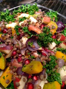 Kabohca squash, lentil and kale salad