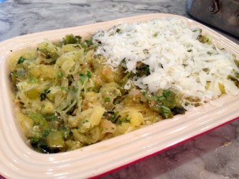 Casserole version of Spaghetti Squash with Tomatillo Salsa