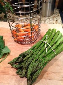 Thumbalina carrots and asparagus ready to cook. Maria Reina, Bella Cucina Maria