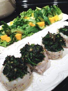 Dover Sole with Kale, Salad with Mango and Avocado, Maria Reina - Bella Cucina Maria