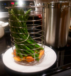 Steamed Asparagus and Thumbalinas. Maria Reina - Bella Cucina Maria